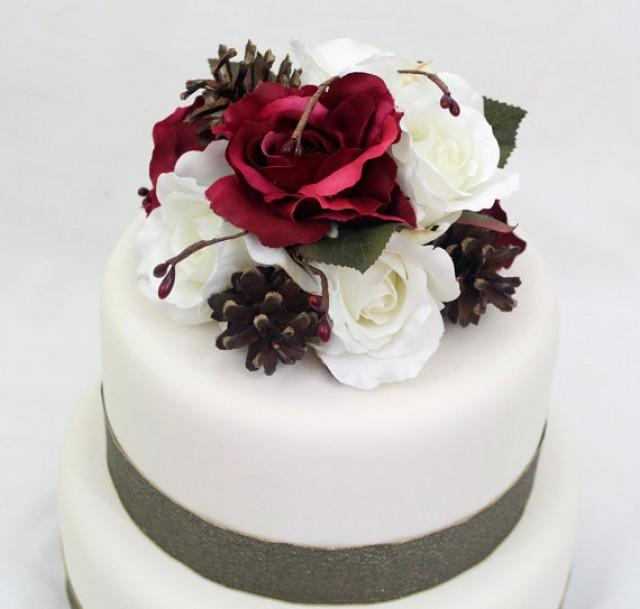 Silk Flower Wedding Cake Toppers: Cranberry Burgundy Red, White