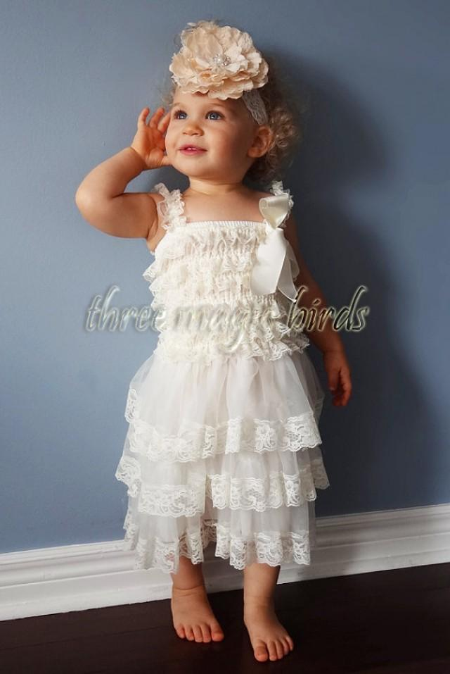 Rustic flower girl dress ivory toddler lace petti dress for Country wedding flower girl dresses
