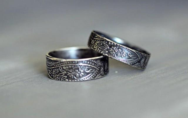 Sterling Silver Wedding Rings Paisley Embossed Rustic Wdding Band His And Hers Wedding Set