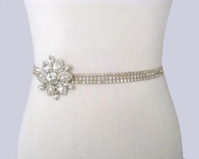 Wedding sash crystal rhinestone bridal belt satin ribbon for Rhinestone sashes for wedding dresses