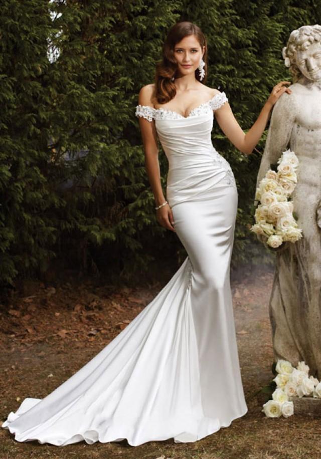 Trumpet satin off the shoulder natural waist chapel train for Satin trumpet wedding dress