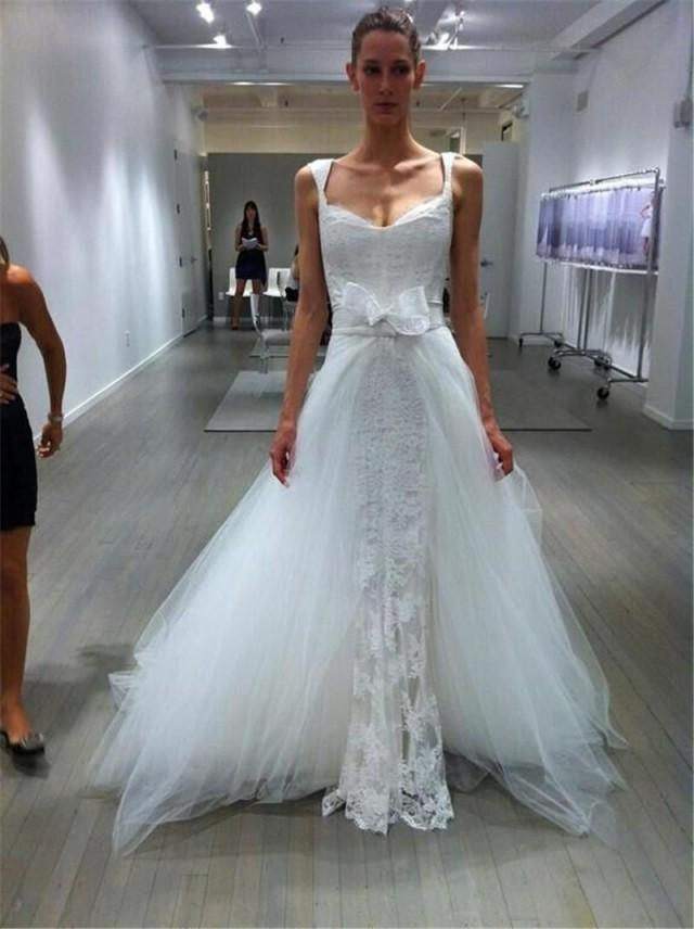 Charming 2015 lace wedding dresses appliuque sheer tulle for Wedding dress removable skirt