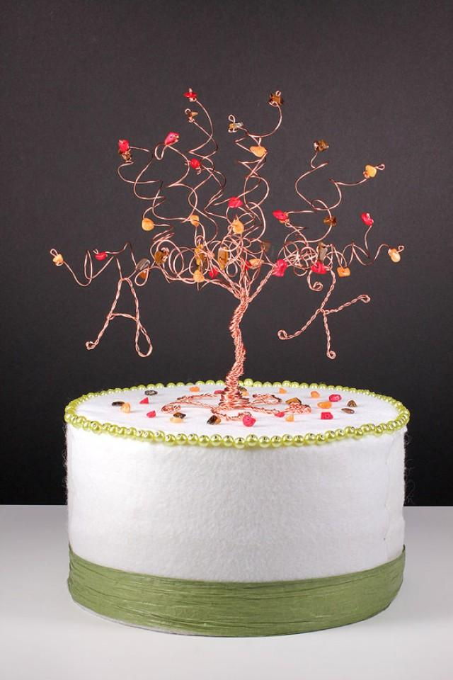 Fall Wedding Cake Topper Wire Tree Sculpture In Autumn Colors 2257150