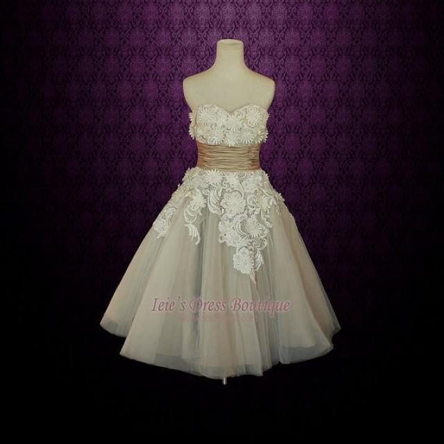 Retro vintage 50s mocha sweetheart short tea length for Vintage t length wedding dresses