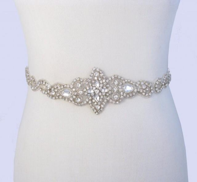 Bridal belt crystal rhinestone wedding dress sash for Satin belt for wedding dress