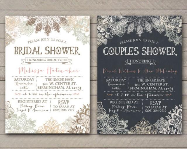 vintage lace shower invitation bridal couples baby printable file