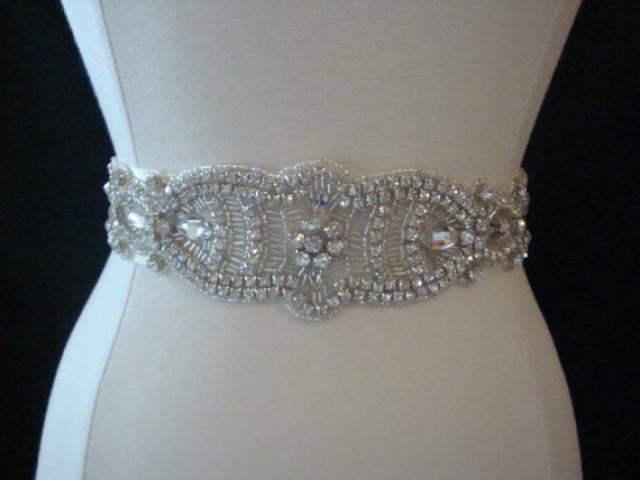 Bridal sash wedding dress sash belt crystal rhinestone for Rhinestone sash for wedding dress
