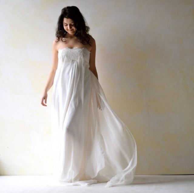 Empire wedding dress strapless wedding dress art nouveau for Long silk wedding dress