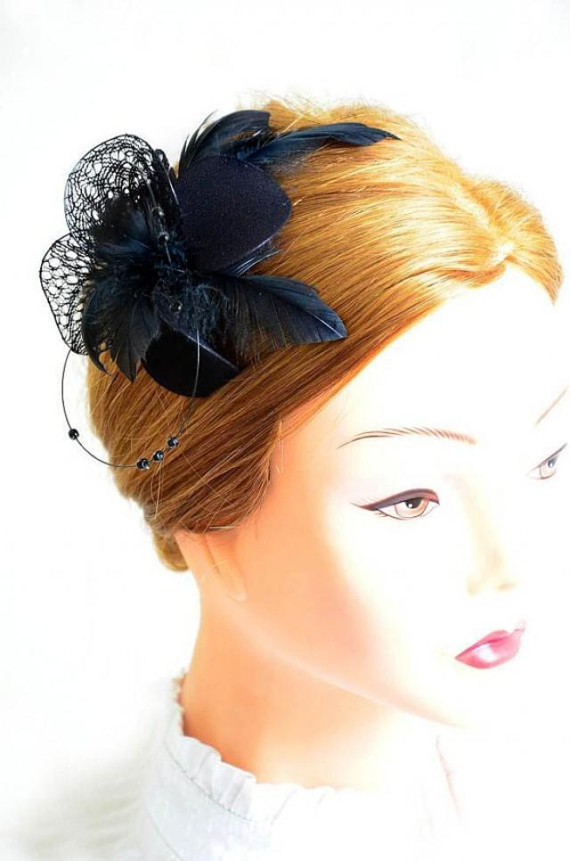Black Feather Fascinator Wedding Headpiece Bridesmaid Feather Fascinator Black Feather Hair ...
