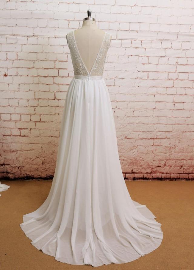 Backless Wedding Dress, Sexy Wedding Dress, Lace Chiffon ... - photo #47