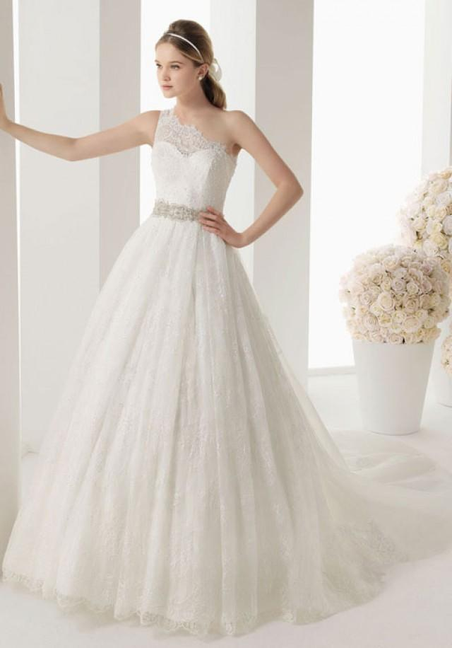 A line sleeveless button lace chapel train wedding dress for Cheap lace wedding dresses uk