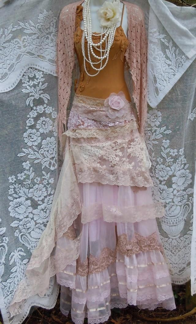 Vintage Wedding Dresses Five Dock : Blush wedding dress cream lace tulle satin vintage edwardian bohemian