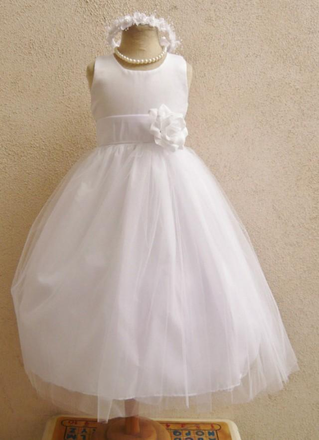 Flower Girl Dresses WHITE With White FD0RBP Wedding