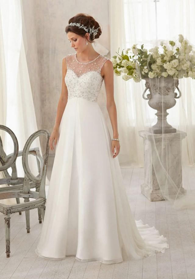 wedding photo - A-line Chiffon,Lace Scoop Natural Waist Sweep/Brush Train Wedding Dress