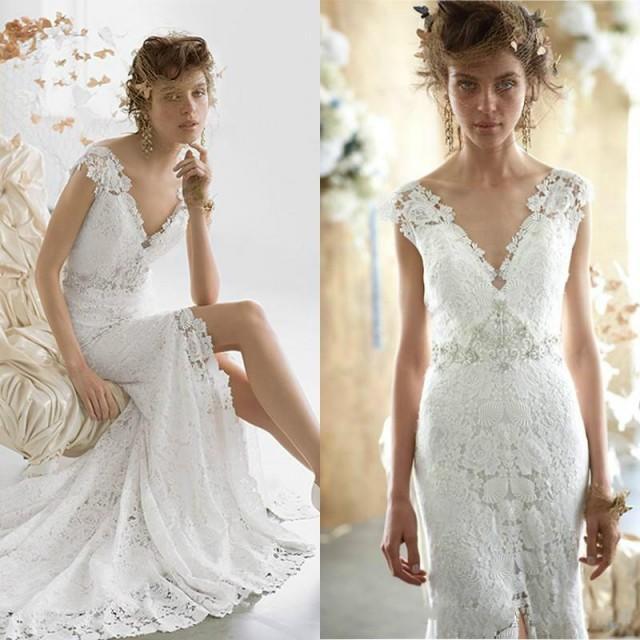 Sexy mermaid wedding dresses bohemian sheath 2015 v neck for Sexy sheath wedding dress