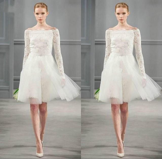 2015 off shoulder short wedding dresses long sleeves lace for Short lace wedding dress with long sleeves