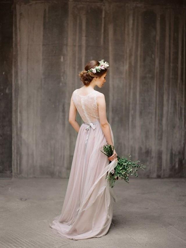 Ulyana sheer back wedding dress illusion back wedding for T back wedding dress