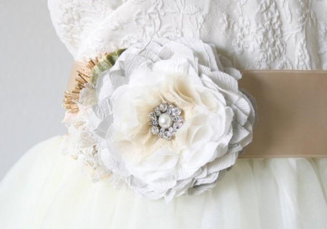 Wedding dress sash light grey sash floral bridal belt for Vintage wedding dress belts