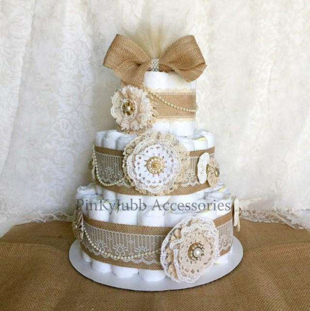 wedding photo - 3 tier rustic - shabby chic burlap diaper cake Shower Gift / Baby Shower Centerpiece