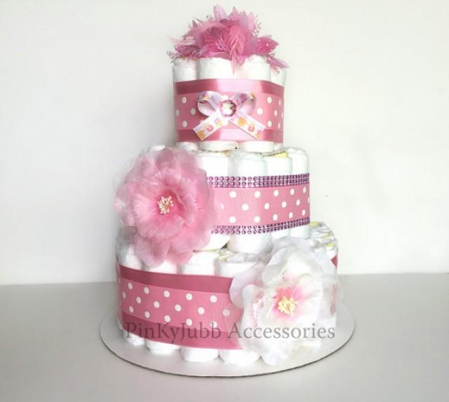 wedding photo - 3 tier pink diaper cake Baby Shower Gift / Baby Shower Centerpiece