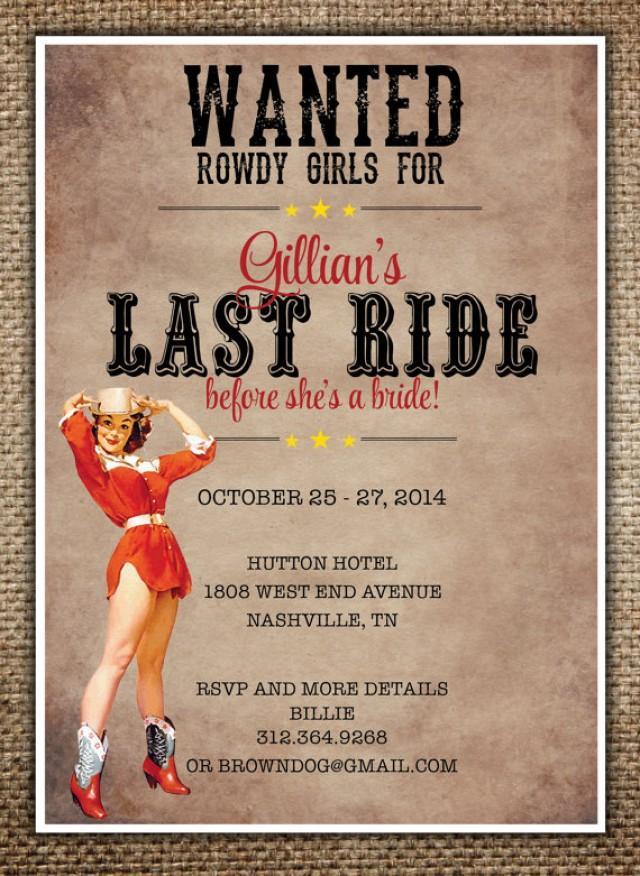 Bachelorette Party/Hen\'s Night Invitation : Bride\'s Last Ride ...