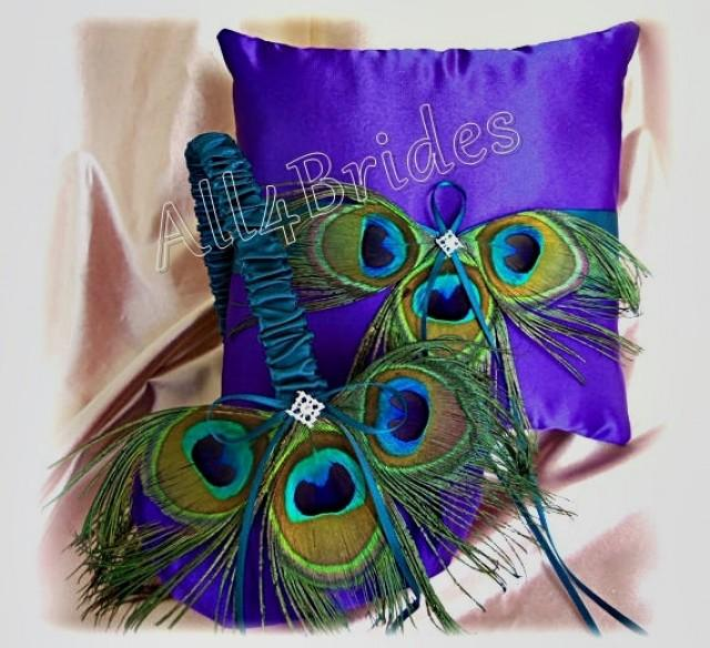 Flower Girl Baskets Peacock : Peacock wedding ring pillow and basket teal purple