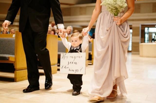 wedding ring bearer sign wedding sign wedding has anyone seen the rings bride ring bearer sign. Black Bedroom Furniture Sets. Home Design Ideas
