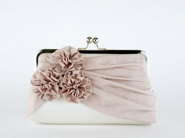 Bridal Clutch Roses Silk Clutch In Blush And Ivory Wedding Clutch Wedding Bag Luxury ...