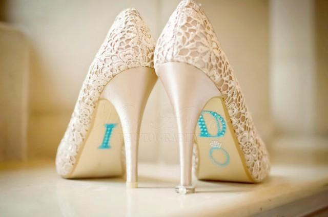 "wedding photo - BLUE ""I Do"" Wedding Shoe Rhinestone Applique"
