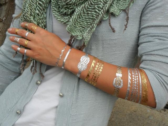 wedding photo - Wedding Party Favor Metallic Tattoos for Bridesmaids