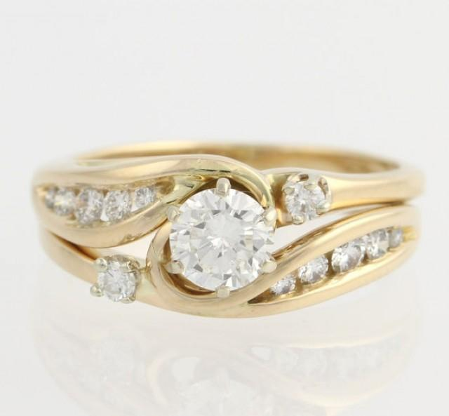 diamond engagement ring wedding band wrap set 14k yellow gold