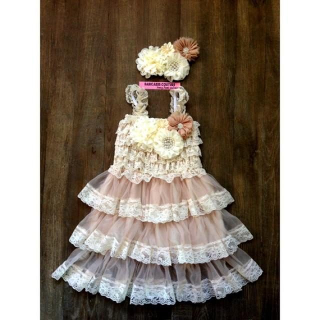 wedding photo - Lace rustic flower champagne women dress