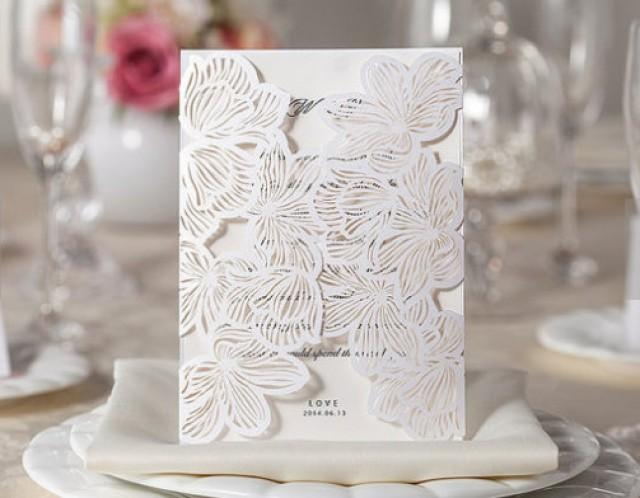 wedding photo - Floral laser cut ivory wedding invitation card