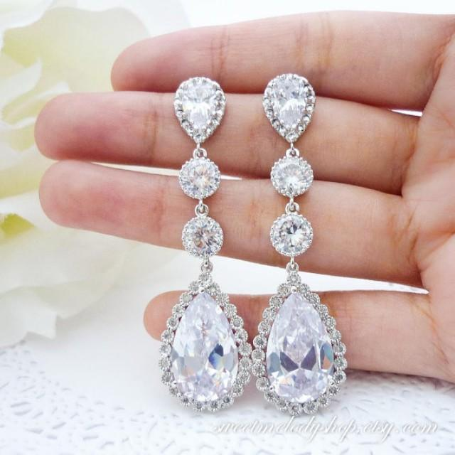wedding photo - Bridal shimmering pair of earrings