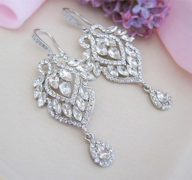 wedding photo - Vintage Style Swarovski Crystal Bridal Earrings