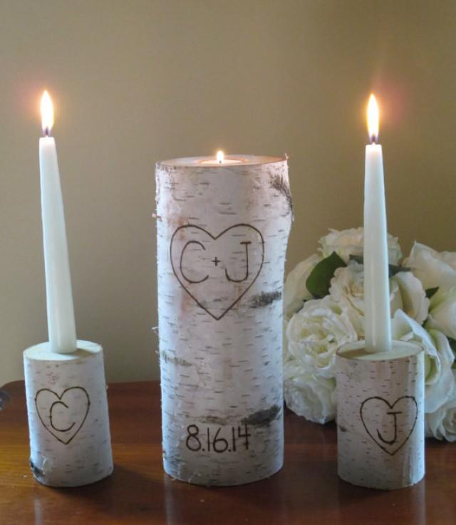 Personalized birch bark unity candle with two