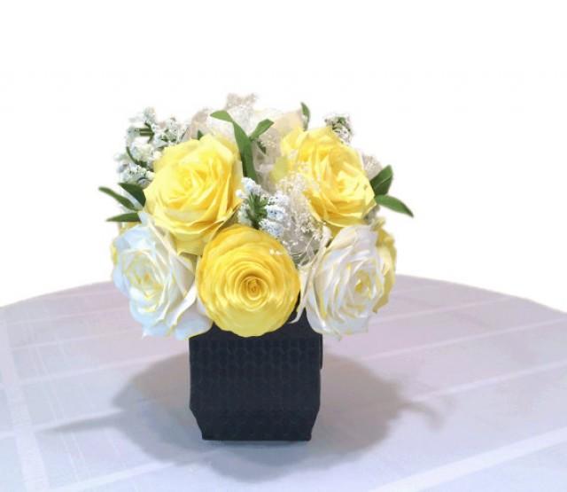 Yellow Peony And Rose Centerpiece, Wedding Decor, White