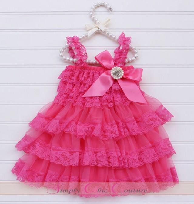 Girly Rustic Chic Bedroom: Hot Pink Lace Rustic Flower Girl Dress, Pink Lace Dress