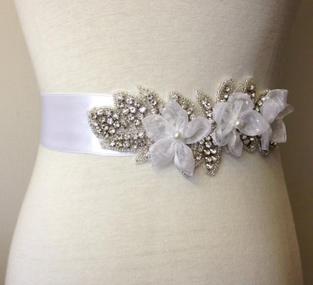 White sash white flower belt bridal sash bride sash for Rhinestone sash for wedding dress