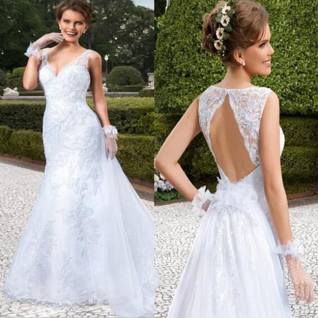 Vestidos de noiva 2015 new arrival v neck backless wedding for Vintage wedding dresses online shop