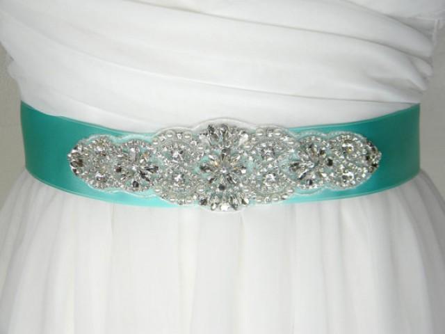Aqua bridal sash bridal belt sash belt crystal for Pearl belt for wedding dress