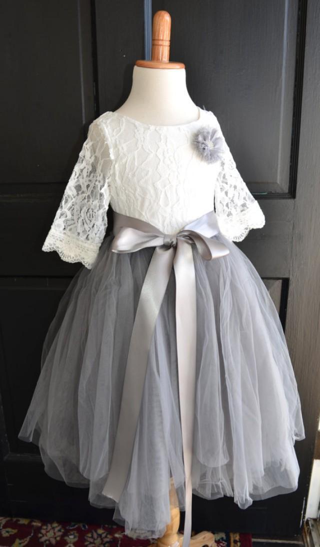 Flower Girl Tutu Dress, Girls Dove Grey Long Tulle Skirt ...