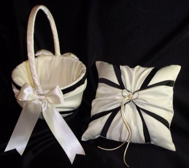 ivory or white black accent wedding ring bearer pillow flower girl basket 2 piece set 2264477. Black Bedroom Furniture Sets. Home Design Ideas