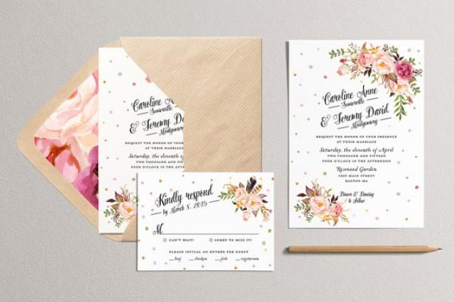 printable wedding invitation and rsvp card rustic