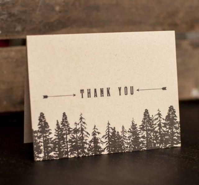 rustic wedding thank you cards trees forest thank you