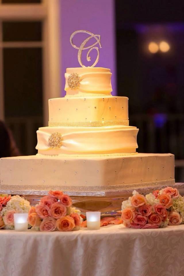 "wedding photo - 6"" Tall Initial Monogram Wedding Cake Topper Swarovski Crystal Rhinestone Letter A B C D E F G H I J K L M N O P Q R S T U V W X Y Z"