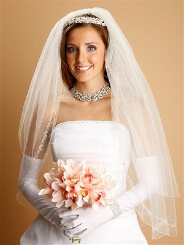 wedding photo - Bridal Veil with Swarovski Crystals, Beads and Chain -  Bridal Jewelry & Wedding Accessories