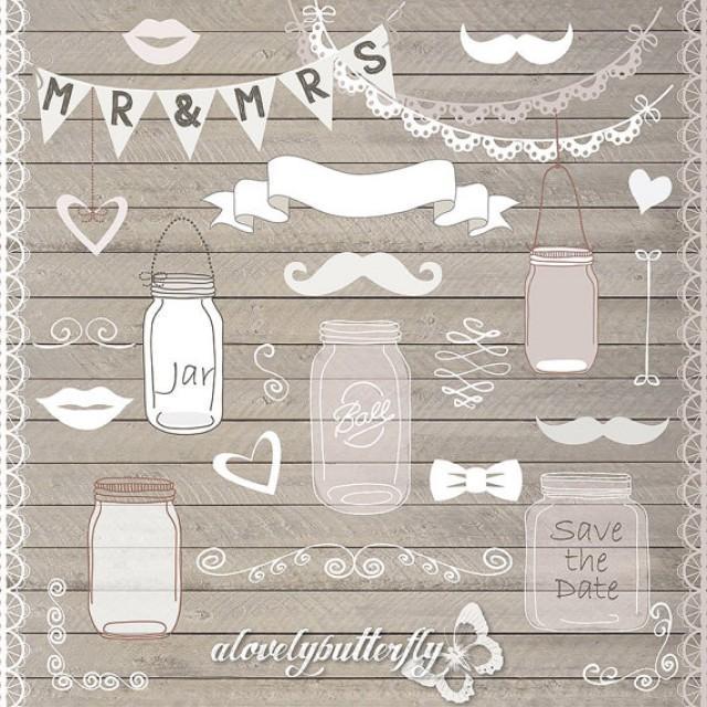Hand Draw Mason Jar Wedding Invitation Clipart, Rustic ...