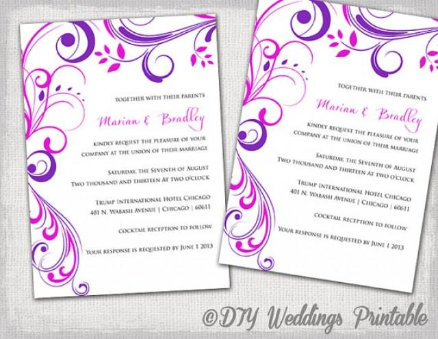 "Wedding Invitations Templates Word: Wedding Invitation Templates Purple And Pink ""Scroll"