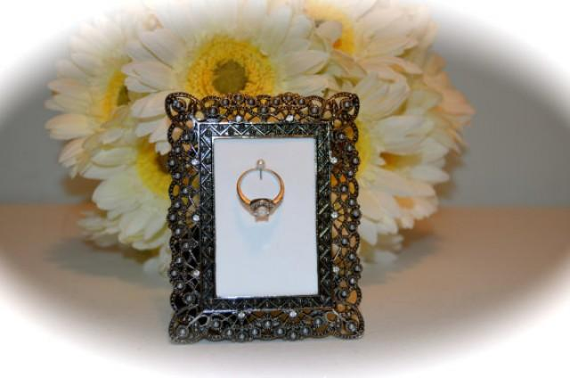 black and engagement wedding ring picture frame